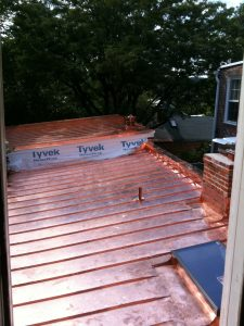 Flashing and parapet walls on copper roof