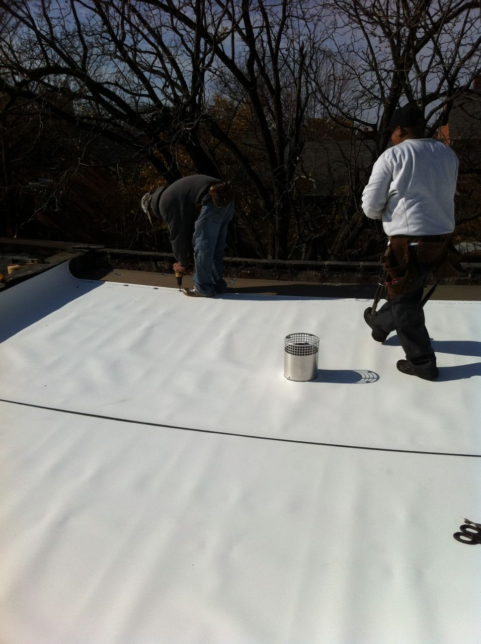 Nice TPO Roofing Membrane Being Installed
