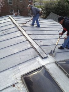 This roof was retrofitted with a vent meant for a shingle roof