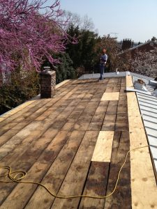 old roofing removed and decking repaired