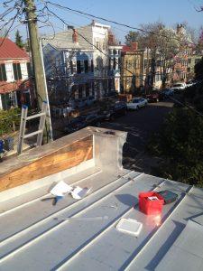 Inside corner flashing on standing seam roof