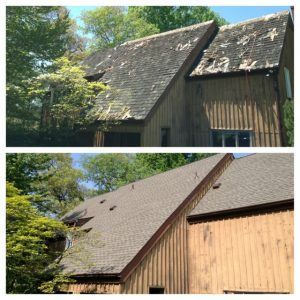 Cedar shake roof replacement before and after